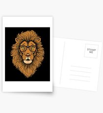 Cool Hipster Lion with Glasses hipster lion - lion graphic  Postcards