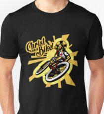 Christus auf einem Fahrrad Slim Fit T-Shirt