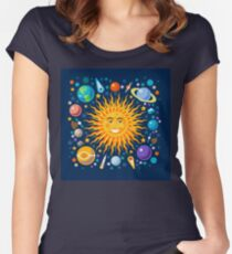 Solar System smiling sun universe Women's Fitted Scoop T-Shirt