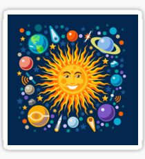Solar System smiling sun universe Sticker