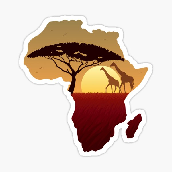 Africa Map Landscape Sticker
