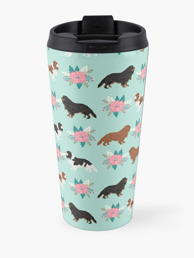 Alternate view of Cavalier King Charles Spaniel floral bouquet cute gift for dog lover dog breed pet portrait Travel Mug