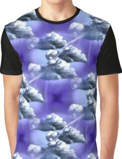 Storm Clouds And Lightning Abstract Design Graphic T-Shirt