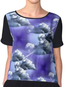 Storm Clouds And Lightning Abstract Design Women's Chiffon Top
