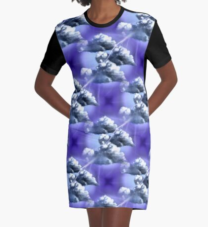 Storm Clouds And Lightning Abstract Design Graphic T-Shirt Dress