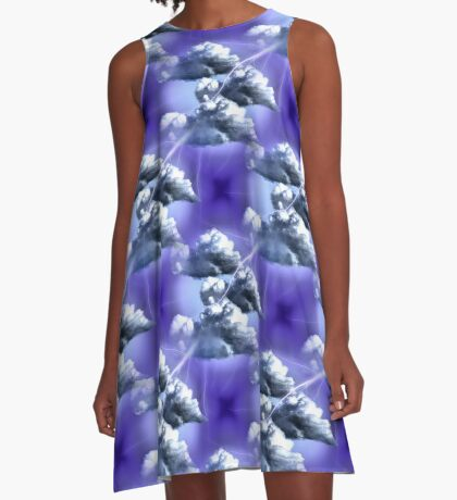 Storm Clouds And Lightning Abstract Design A-Line Dress
