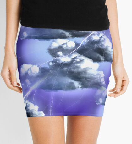 Storm Clouds And Lightning Abstract Design Mini Skirt