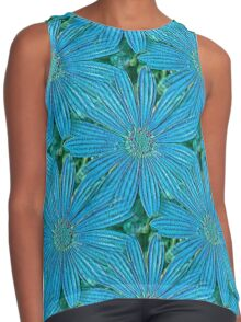 Turquoise Blue Daisy Flowers Contrast Tank