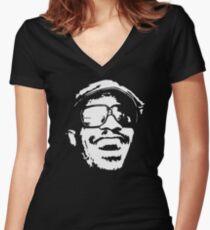 stencil Stevie Wonder Women's Fitted V-Neck T-Shirt
