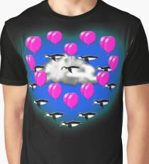 penguin formation flying ( heart ) Graphic T-Shirt