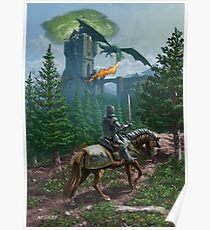 Knight on horseback approaching dragon guarded castle Poster