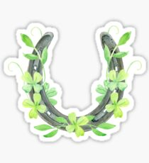 Lucky Horseshoe and Clover Sticker