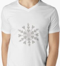 Hidden Mickey Snowflake Mens V-Neck T-Shirt