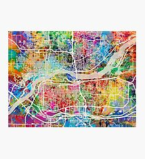 Quad Cities Street Map Photographic Print