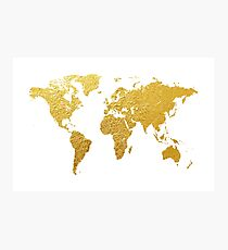 World Map Gold Foil Photographic Print
