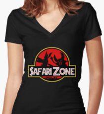 Jurassic Park - Safari Zone Women's Fitted V-Neck T-Shirt