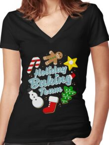 Holiday Baking Team Women's Fitted V-Neck T-Shirt