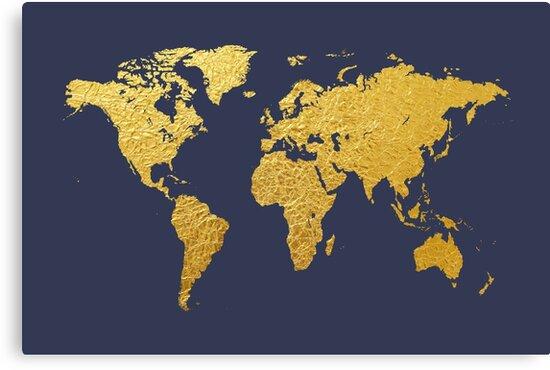 World map gold foil canvas prints by michael tompsett redbubble world map gold foil by michael tompsett gumiabroncs Images