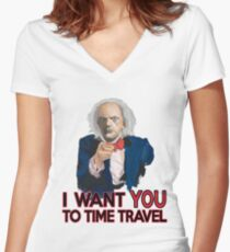 Doc Brown Wants You Women's Fitted V-Neck T-Shirt