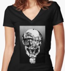 Sci Fi Anime Escher tribute Women's Fitted V-Neck T-Shirt