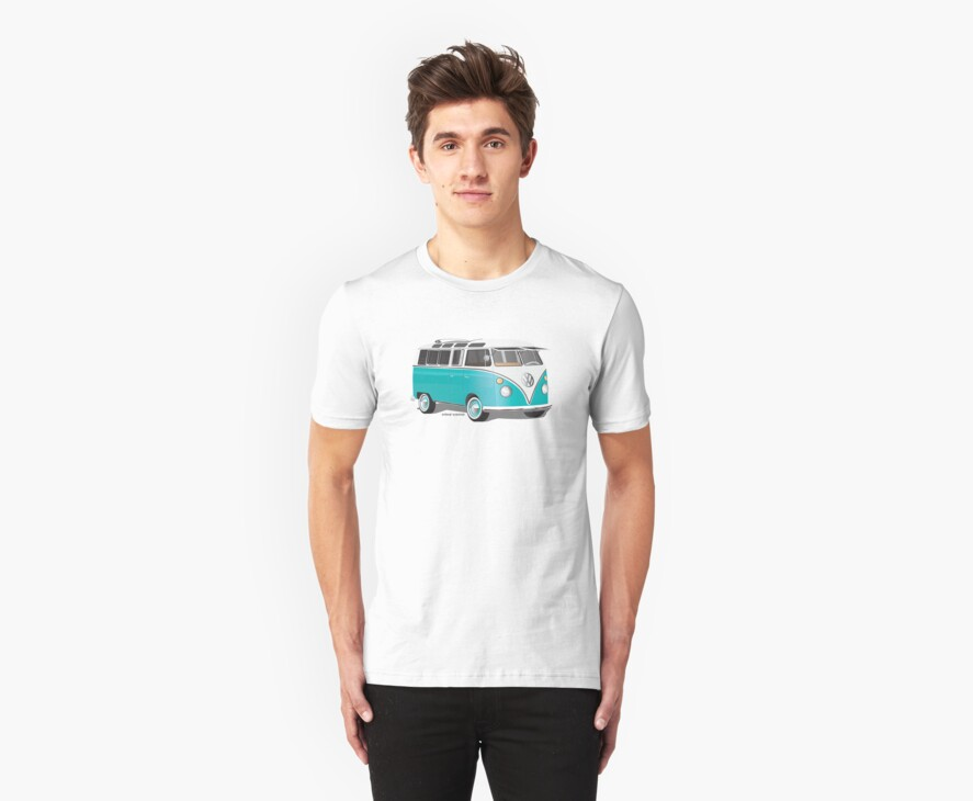 Split VW Bus Teal Hippie Van by Frank Schuster