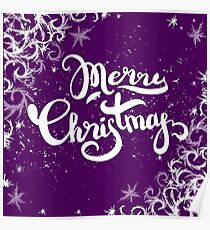 Merry Christmas lettering on frost background Poster