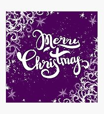 Merry Christmas lettering on frost background Photographic Print