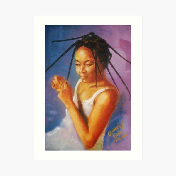 Long Tresses. Woman dresses her hair. Art Print