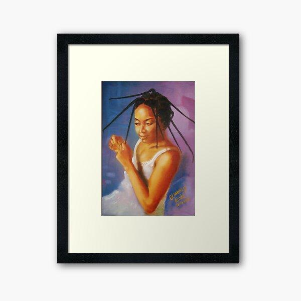 Long Tresses. Woman dresses her hair. Framed Art Print