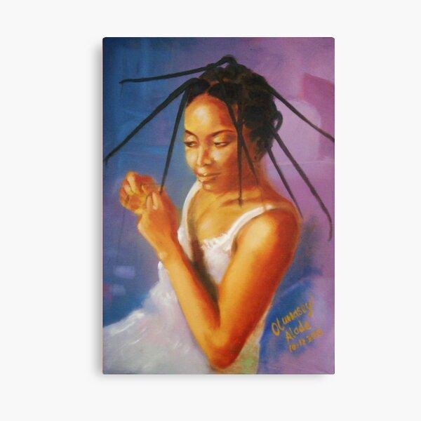 Long Tresses. Woman dresses her hair. Canvas Print