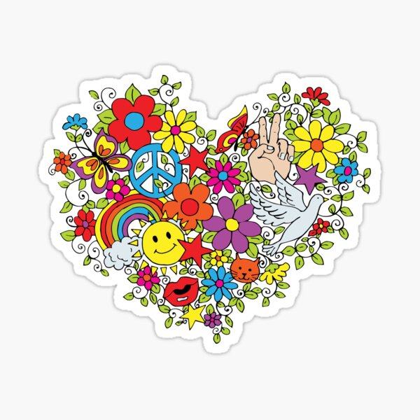 Hippie Love Flower Power Sticker