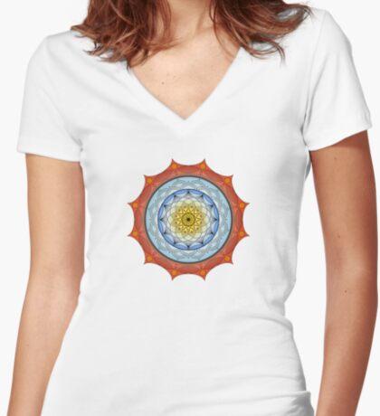 World On Fire Mandala Women's Fitted V-Neck T-Shirt