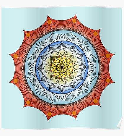World On Fire Mandala Poster