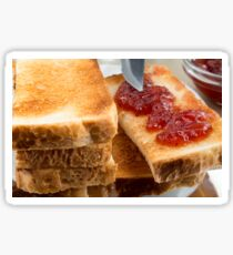 Toasted slices of bread with strawberry jam close-up Sticker
