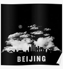 Beijing China Skyline Cityscape at Night Poster