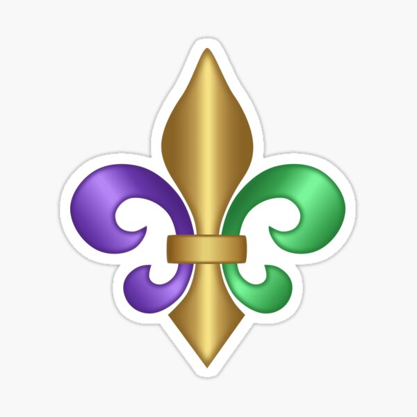 Purple Green and Gold Fleur-de-Lis Symbol Sticker