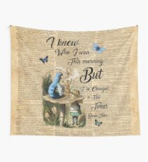 "Alice in Wonderland Quote Vintage Dictionary Art ""I've changed few times..."" Wall Tapestry"