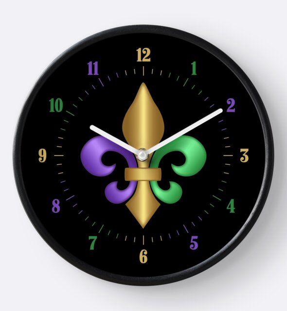 Studio Dalio - Purple Green and Gold Fleur-de-Lis Symbol Clock