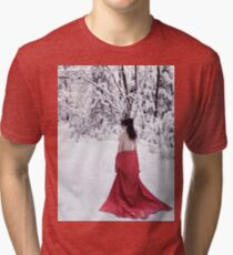 Woman in red kimono lowered down to her waist walking away in snow art photo print Tri-blend T-Shirt
