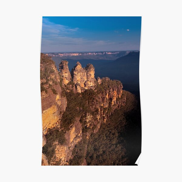 Three Sisters at sunset, Blue Mountains, Australia Poster