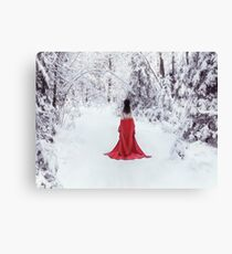 Woman in red kimono and bare shoulders walking away in snow art photo print Canvas Print