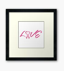 Love Pink Breast Cancer Ribbon Framed Print