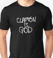 Clapton is God - White on Black Slim Fit T-Shirt