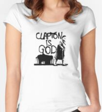 Clapton is God - Black on White Women's Fitted Scoop T-Shirt