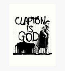 Lámina artística Clapton es Dios - Negro sobre blanco