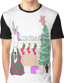 Unicorn Christmas Tree Cocoa Snuggle Blanket Stockings Festive Cute Fun Illustration Hand Drawn Holiday Weird Funny Cool Graphic T-Shirt