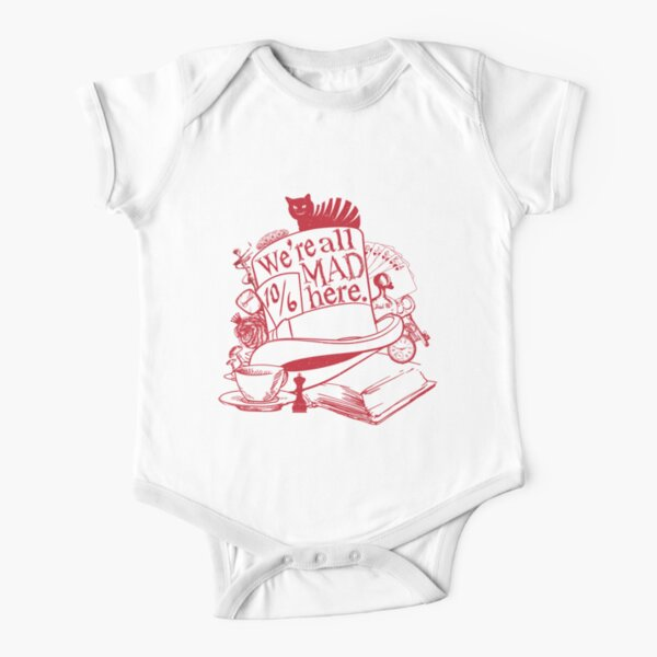 We're All Mad Here Short Sleeve Baby One-Piece