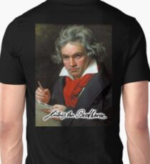 Ludwig van Beethoven, German composer and pianist. Portrait, on Black Unisex T-Shirt