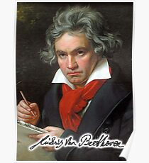 Ludwig van Beethoven, German composer and pianist. Portrait, on Black Poster