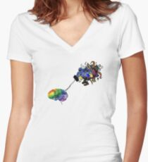 Brain Mapping Women's Fitted V-Neck T-Shirt